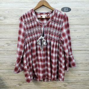 Sundance Red & White Embroidered Plaid Top